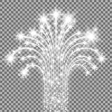 Glittering flying stars, white color. Glittering flying stars with star dust, glowing stars on transparent background, light effect, white color Stock Images