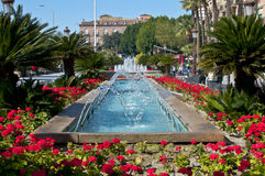 Glittering fountain in Murcia. Royalty Free Stock Photography