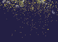 Glittering golden star dust trail sparkling particles. Space comet tail. Vector glamour fashion illustration. Stock Image