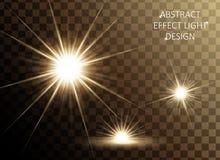 Glittering golden star set. Sparkling decorative elements isolated on transparent background, 3d illustration Vector Illustration