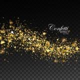 Glittering golden stream of sparkles. Royalty Free Stock Photos