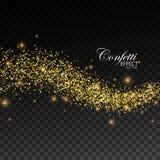 Glittering golden stream of sparkles. Royalty Free Stock Image