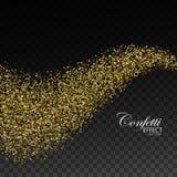 Glittering golden stream of sparkles. Stock Image