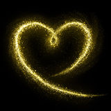 Glittering heart of gold cosmic dust tail Stock Photos