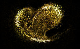 Glittering heart gold cosmic dust tail Stock Images