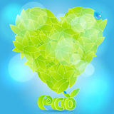 Glittering heart from leaves with waterdrops. Vector illustration of ecology concept - beautiful, glittering heart from leaves with water drops Royalty Free Stock Photography