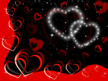 Glittering Hearts Background Show Tenderness Affection And Love Stock Photos