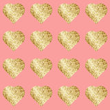 Glittering Hearts In Seamless Pattern Royalty Free Stock Images