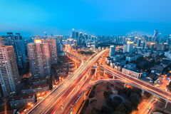 A glittering intersection. Beautiful overpass at the intersection of two viaducts in shanghai Stock Image