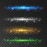 Glittering light particles. Sparkling glitter lines. Glittering light particles. Sparkling glitter line. Green, white, golden, blue lens flare sparkles on Royalty Free Stock Photos