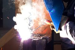 Glittering light of welding machine Royalty Free Stock Images