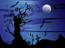 Glittering lights background. Blue picture of Halloween night Royalty Free Stock Photos