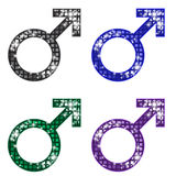 Glittering MALE Symbols. A set of glittering male symbols in four different cool colors Stock Photo