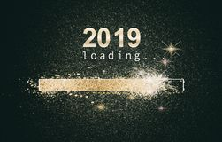 Glittering New Year background with loading screen vector illustration