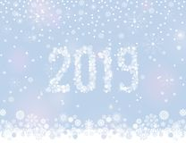 Glittering 2019 New Year from snowflakes on silver grey background with snowfall. Around it. Vector illustration for winter design vector illustration