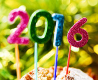 Glittering numbers forming number 2016, as the new year, on a ca Stock Photos