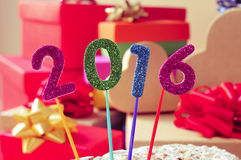 Glittering numbers forming the number 2016, as the new year Royalty Free Stock Photo