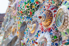 Glittering pottery placed  on wall Stock Photography