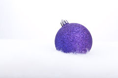 Glittering purple christmas ball Royalty Free Stock Photo