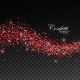 Glittering red stream of sparkles. Stock Photos