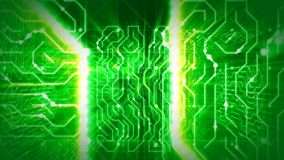Glittering Routes of Green Circuit Processor. An innovative 3d rendering of a world circular board with two white and yellow routes, blurred mazes and Royalty Free Illustration