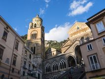 The Glittering Saint Andrew`s Cathedral in Amalfi. Stock Photo