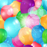 Glittering seamless summer balloons illustration Royalty Free Stock Image