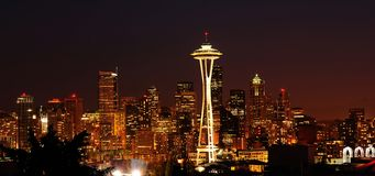Glittering Seattle skyline Royalty Free Stock Photography