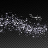 Glittering silver stream of sparkles. Glittering silver stream of sparkles, glitters and stars. Christmas ornament. Vector illustration. Holiday confetti Royalty Free Stock Photography