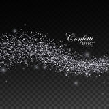 Glittering silver stream of sparkles. Royalty Free Stock Photos