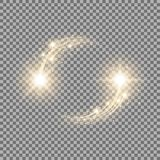 Glittering star dust, circle of lights, golden color. Glittering star dust, circle of lights, stars on transparent background, graphic concept for your design Stock Image