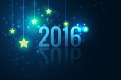 2016 on glittering stars background vector illustration Royalty Free Stock Images