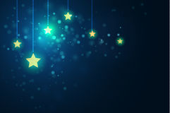 Glittering stars on bokeh background vector illustration Royalty Free Stock Images