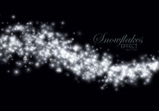 Glittering stream of sparkles. Glittering frosty stream of snowflakes, stars and glitters. Abstract winter vector illustration of snowy glittering stream Stock Image