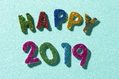 Glittering text happy 2019 royalty free stock image