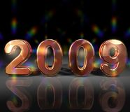 Glittering year 2009. Illustration of glittering 2009 numbers on black background, some lens flares and reflection added royalty free illustration