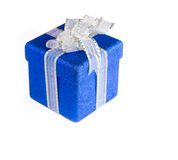 Glittery blue gift box Royalty Free Stock Image