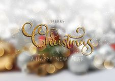 Glittery Christmas text on defocussed background. Glittery Christmas text on a defocussed background vector illustration