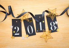 2018 with glittery decoration Royalty Free Stock Image