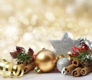 Glittery gold Christmas background Stock Photo