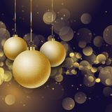 Christmas baubles on a bokeh lights background. Glittery gold Christmas baubles on a bokeh lights background Stock Illustration