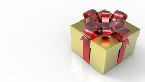 Glittery gold giftbox with red bow on white background. 3D render. Royalty Free Stock Photo