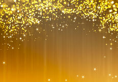 Glittery golden festive background with stars Royalty Free Stock Photo