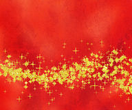 Glittery Golden Star Wave on Red Background Royalty Free Stock Photography