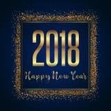 Glittery Happy New Year background. Happy New Year background with gold glittery confetti design Stock Photo