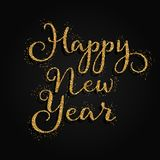 Glittery Happy New Year background. Happy New Year background with gold glittery decorative text vector illustration