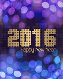 Glittery Happy New Year 2016 blue Royalty Free Stock Photography