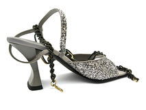 Glittery shoe. With fashion jewellery chain, over white Stock Image