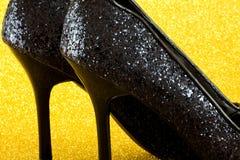 Glittery skor Fotografering för Bildbyråer