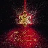 Glittery Weihnachtsschneeflockenhintergrund Stockfoto